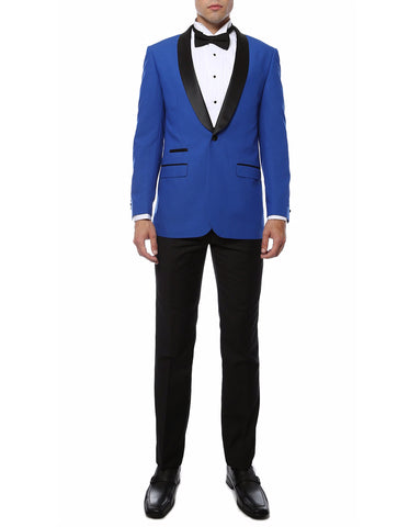 Mens Slim Fit Shawl Prom Tuxedo in Royal Blue