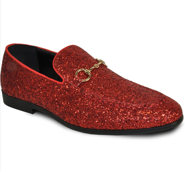 Mens Shiny Sparkly Glitter Prom Slip On Dress Shoes in Red