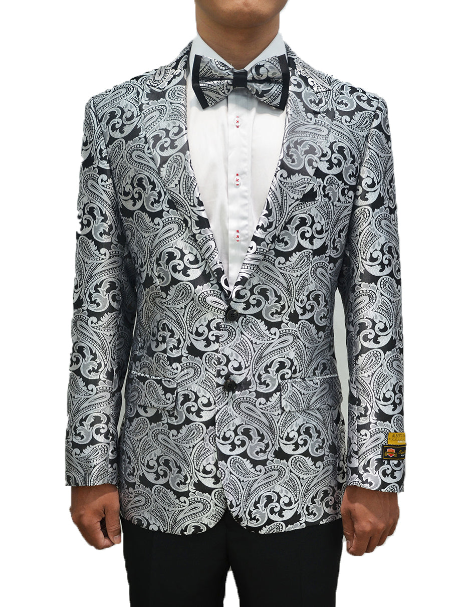 Mens Paisley Dinner Jacket Blazer in Silver Grey