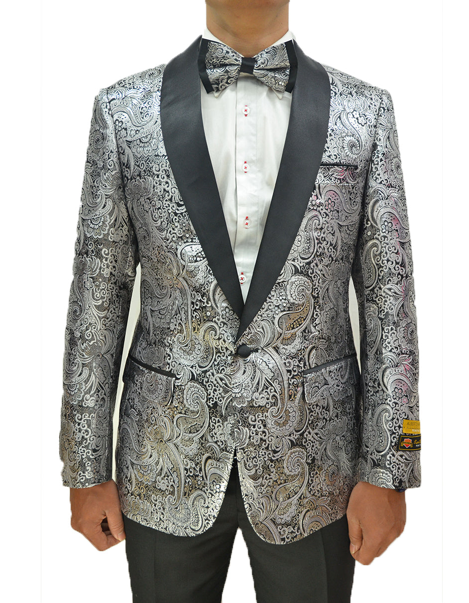 Mens Formal Silver Paisley Shawl Dinner Jacket