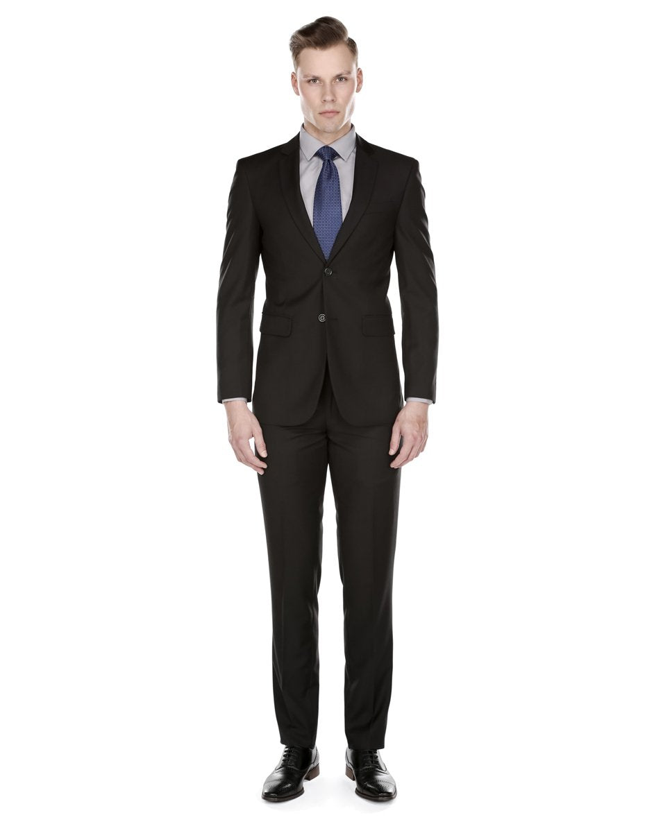 Mens Skinny Slim Funeral Suit Black