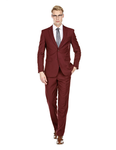 Mens Skinny Slim Suit Burgundy