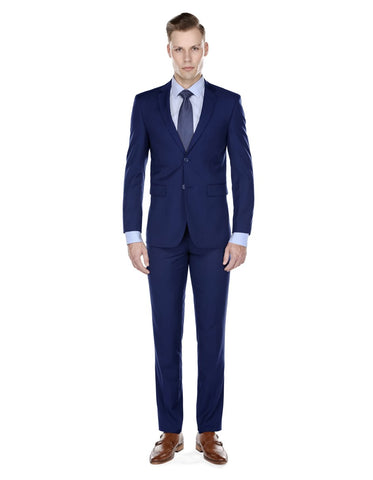 Mens Skinny Slim Suit Indigo Blue