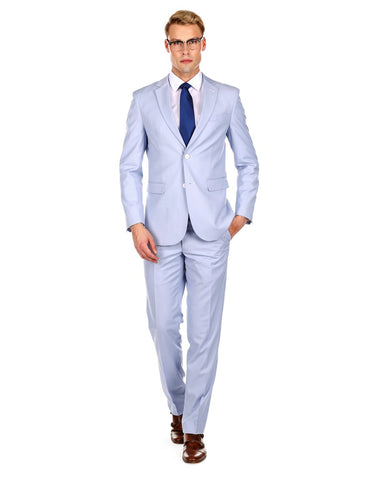 Mens Skinny Slim Suit Light Blue