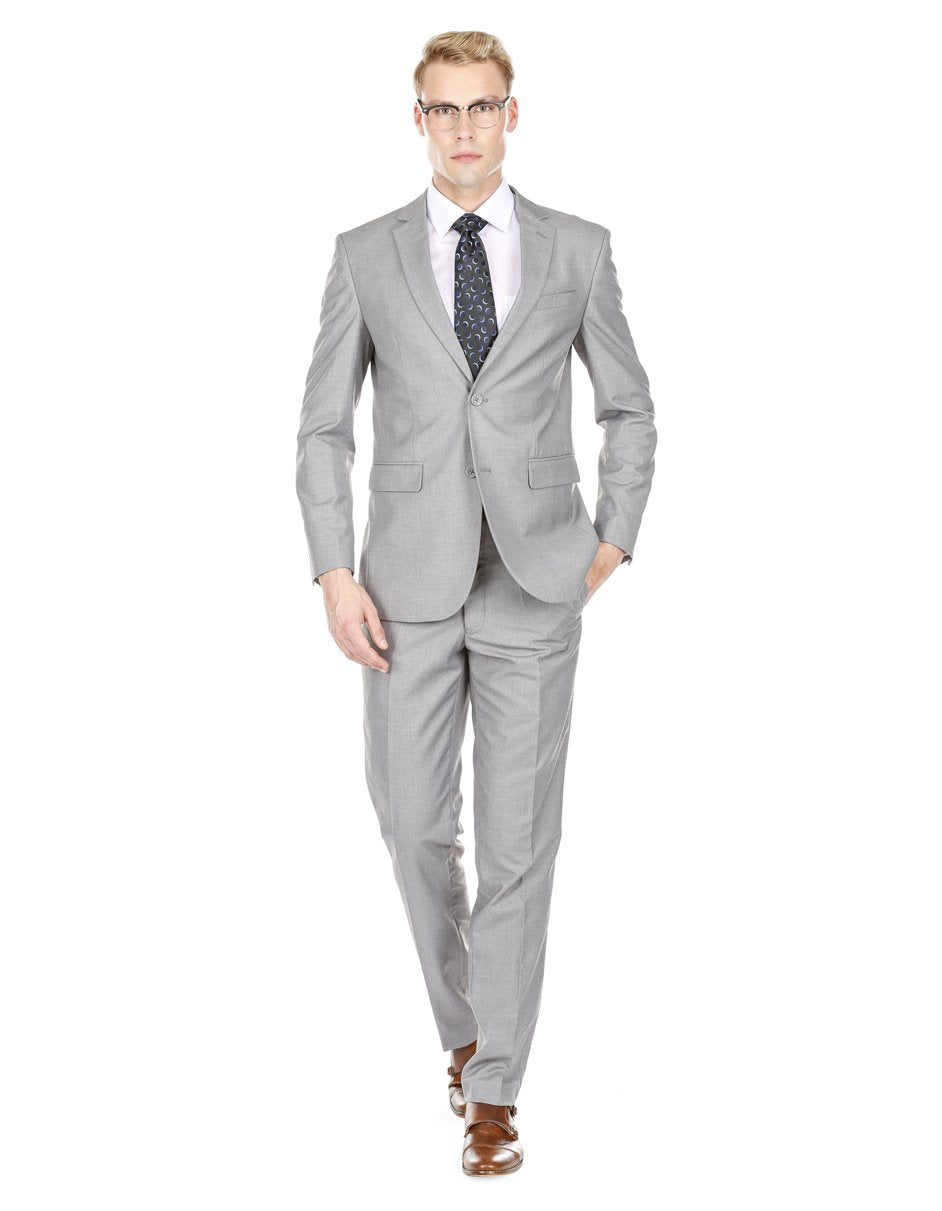 Mens Skinny Slim Suit Light Grey
