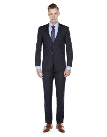 Mens Skinny Slim Suit Navy Blue