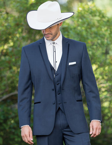 2 Button Vested Satin Trim Lapel Cowboy Tuxedo in Navy