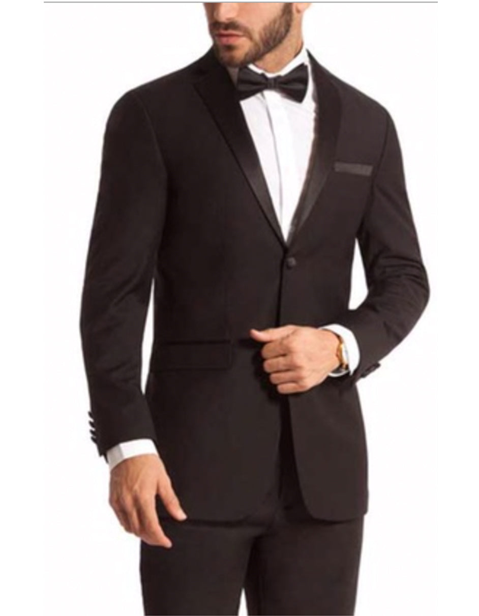 Mens 2 Button Skinny Fit Notch Tuxedo in Black