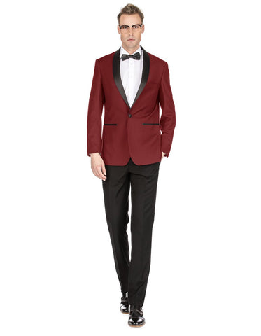 Mens Prom | Wedding Slim Fit Burgundy Shawl Tuxedo