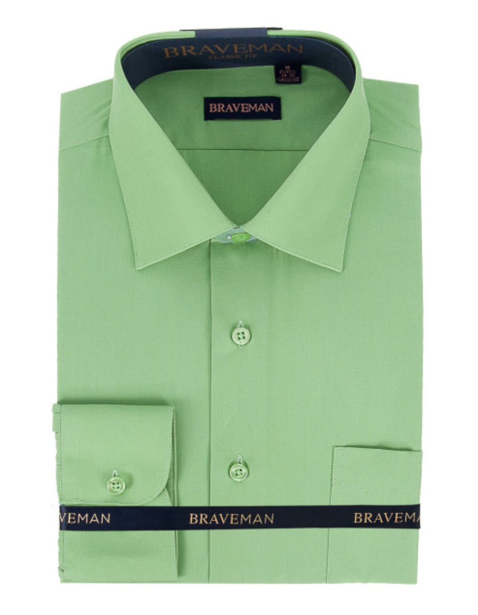 Mens Slim Fit Dress Shirt in Apple Green