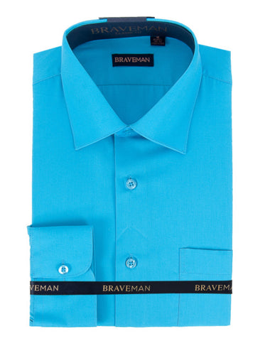 Mens Slim Fit Dress Shirt in Aqua Blue
