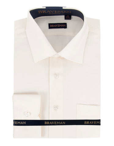 Mens Slim Fit Dress Shirt in Ivory