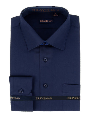 Mens Slim Fit Dress Shirt in Navy Blue