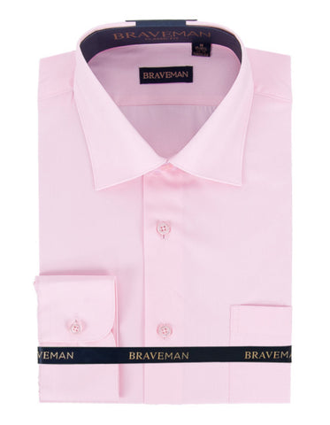 Mens Slim Fit Dress Shirt in Pink