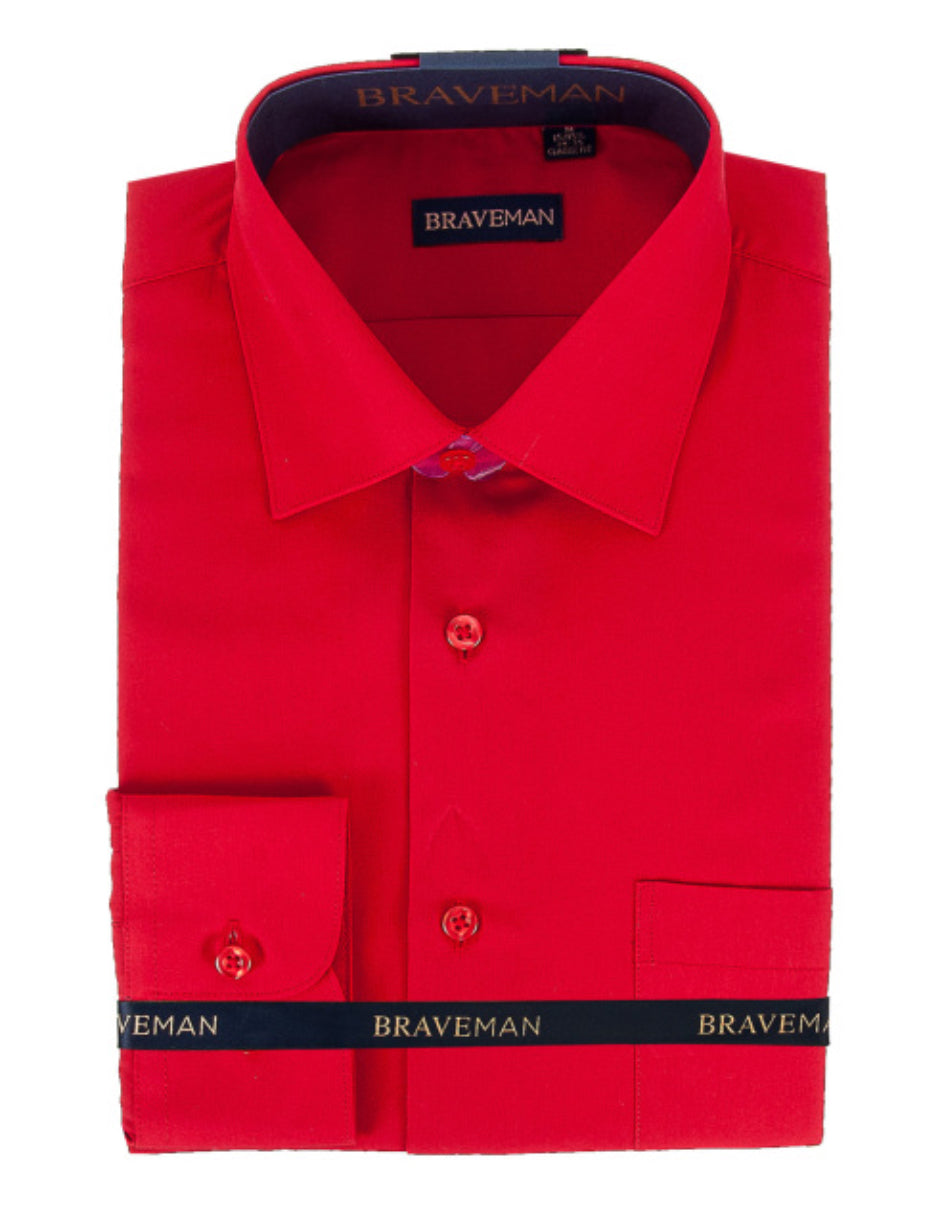 Mens Slim Fit Dress Shirt in Red