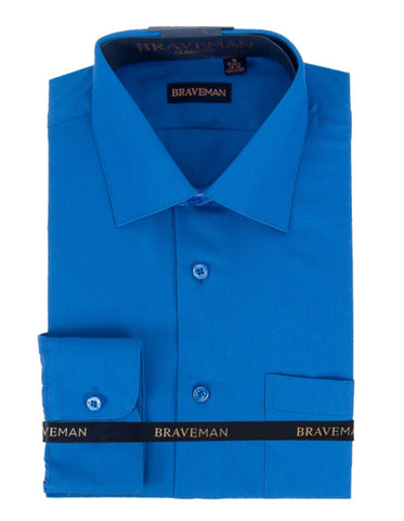 Mens Slim Fit Dress Shirt in Royal Blue