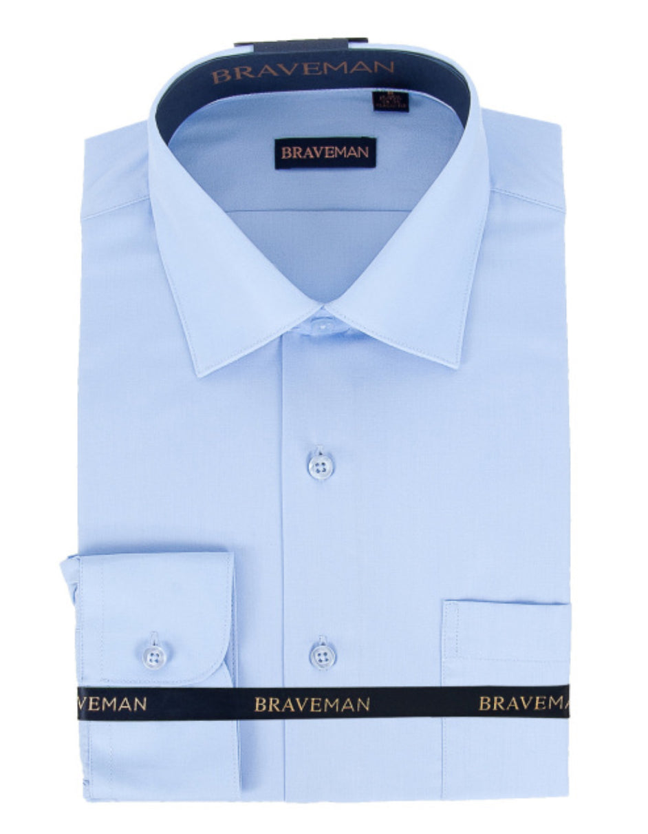 Mens Slim Fit Dress Shirt in Sky Blue