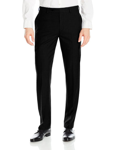 Mens Slim Fit Flat Front Dress Pant Black
