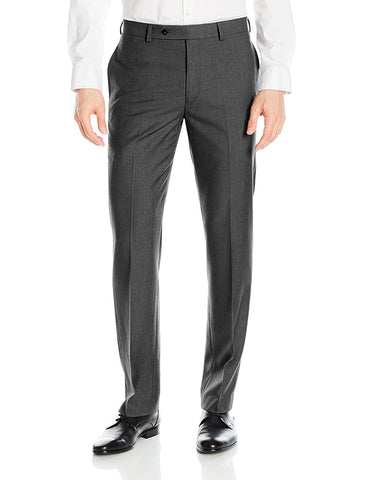 Mens Slim Fit Flat Front Dress Pant Charcoal Grey