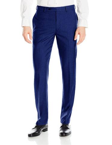 Mens Slim Fit Flat Front Dress Pant Indigo Blue