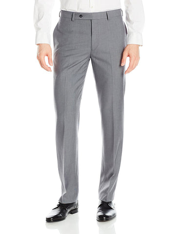 Mens Slim Fit Flat Front Dress Pant Light Grey
