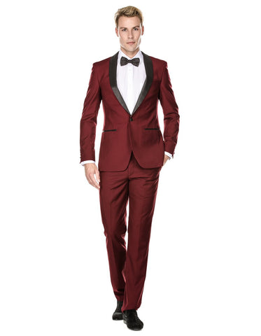 Mens Prom | Wedding Slim Fit Shawl Tuxedo Burgundy