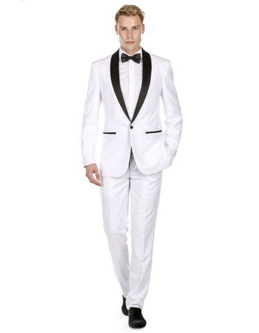Mens Prom | Wedding Slim Fit Shawl Tuxedo White