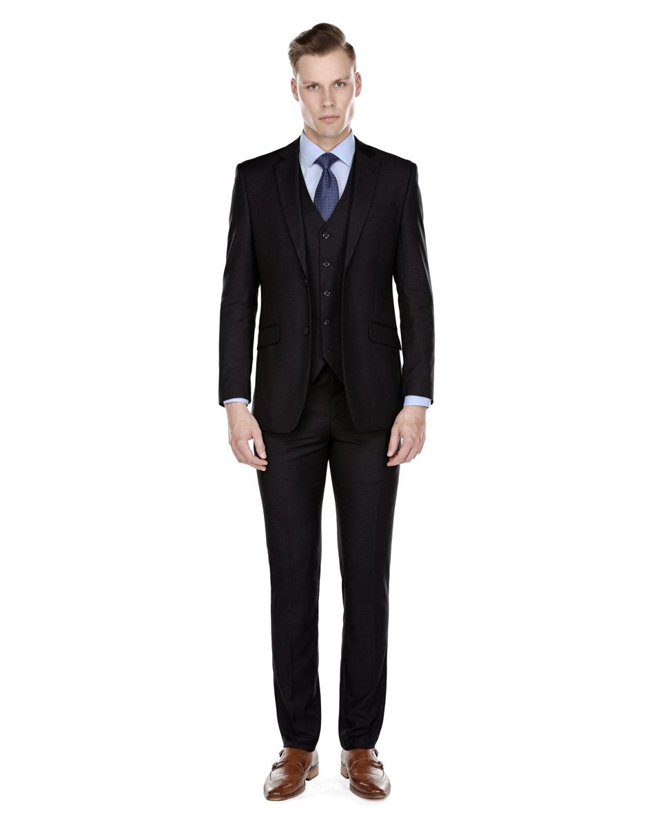 Mens Slim Fit Vested Suit Black
