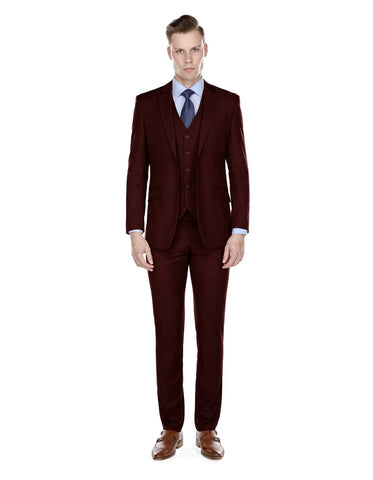 Mens Slim Fit Vested Suit Burgundy