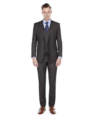 Mens Slim Fit Vested Suit Charcoal Grey