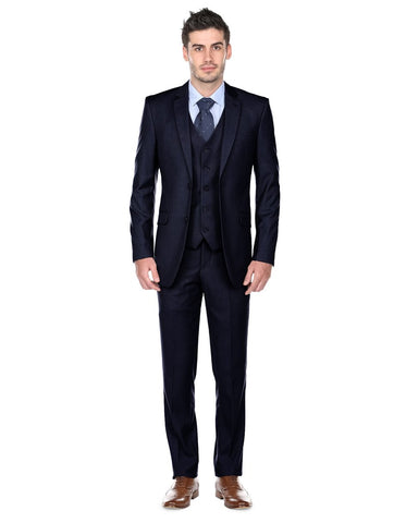 Mens Slim Fit Vested Suit Midnight Blue