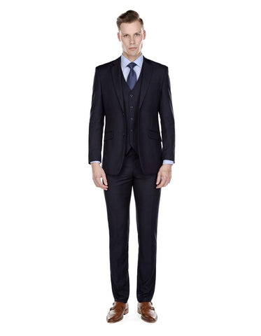 Mens Slim Fit Vested Suit Navy