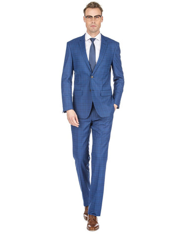 Mens Slim Fit Window Pane Suit Dark Blue