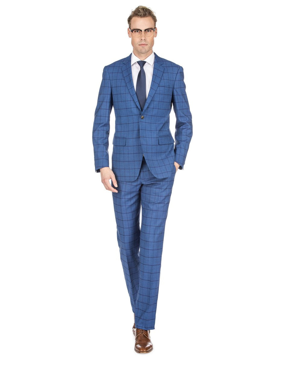Mens Slim Fit Window Pane Suit Indigo Blue