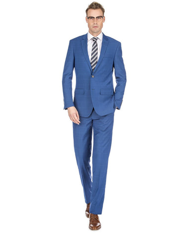 Mens Slim Fit Window Pane Suit Indigo