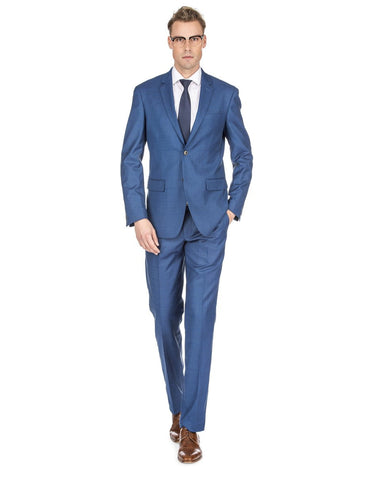 Mens Slim Fit Window Pane Suit Light Indigo