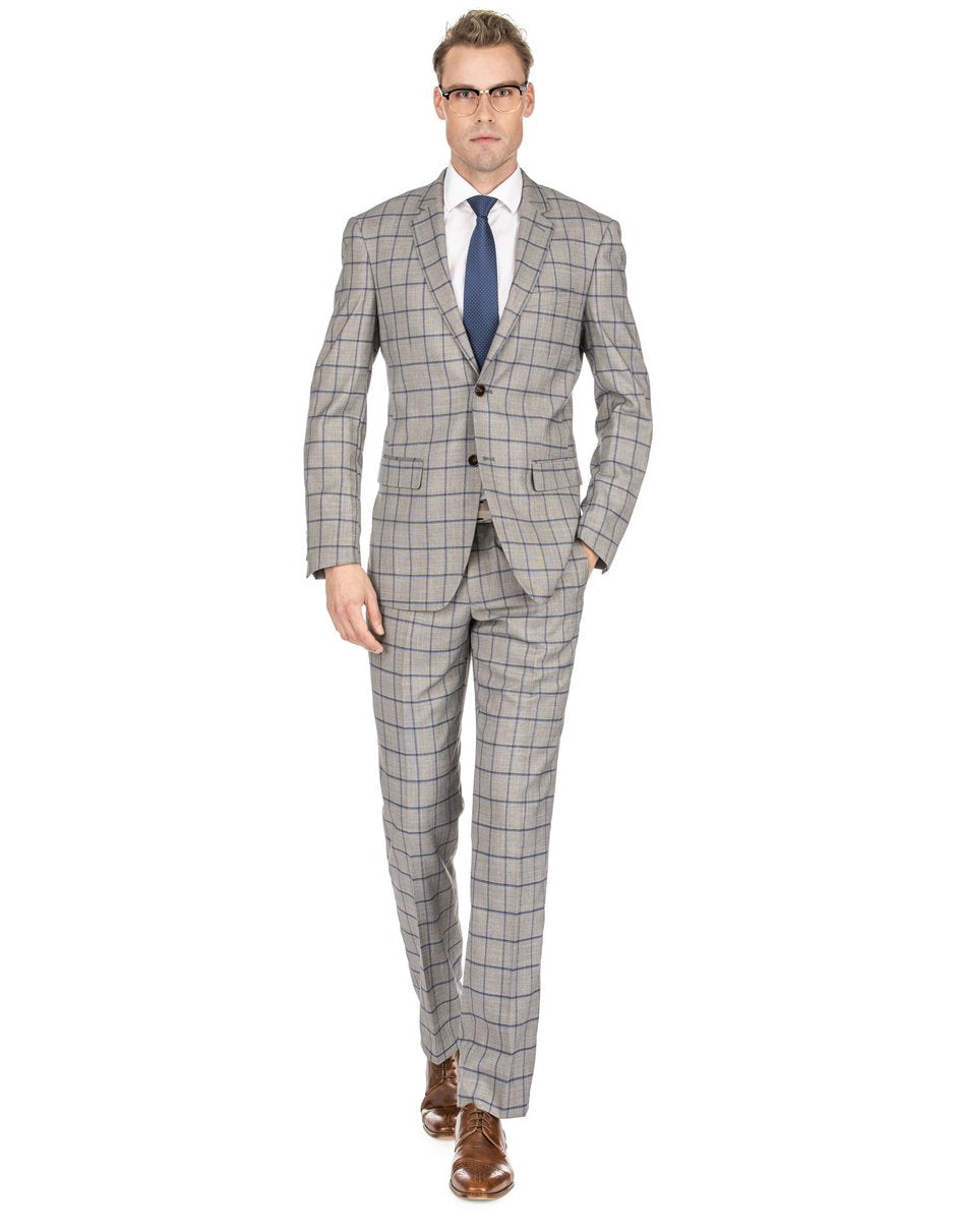 Mens Slim Fit Window Pane Suit Tan