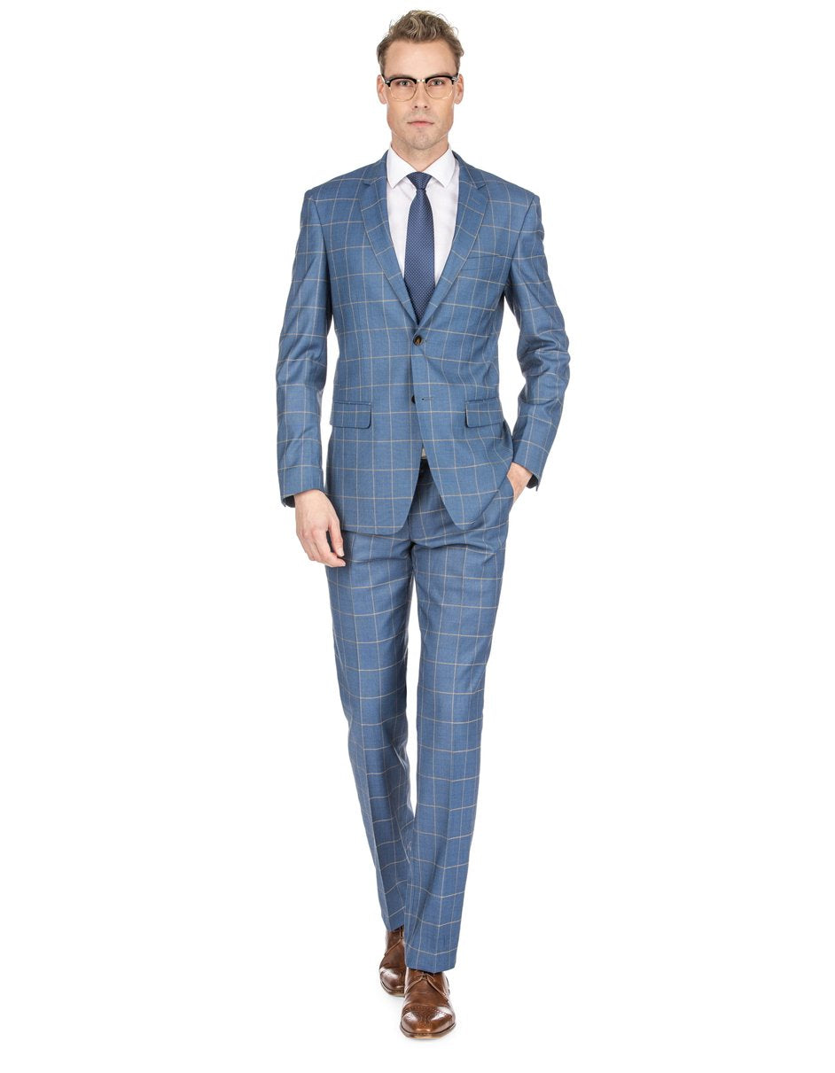 Mens Slim Fit Window Pane Suit Teal Blue