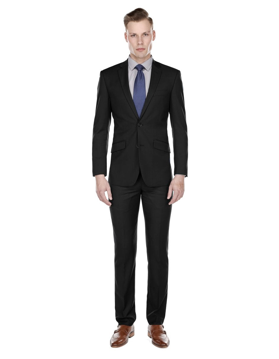Mens Slim Modern Suit Black
