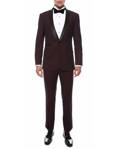Mens Skinny Fit Shawl Tuxedo in Burgundy