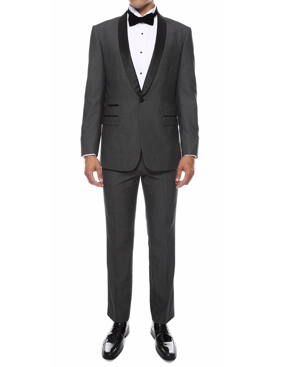 Mens Skinny Fit Shawl Tuxedo in Charcoal Grey