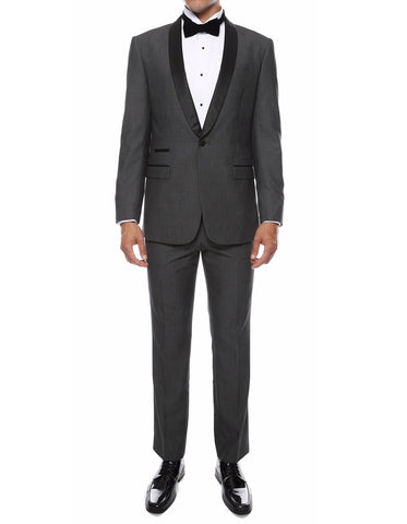 Mens Skinny Fit Shawl Prom Tuxedo in Charcoal Grey