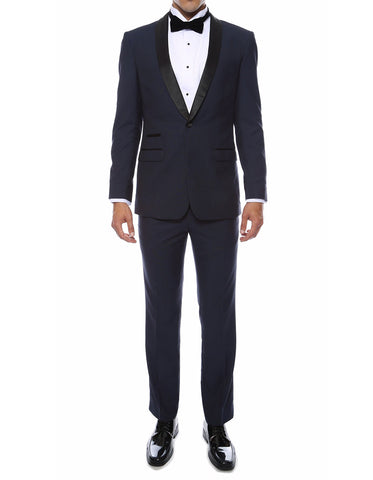 Mens Skinny Fit Shawl Prom Tuxedo in Navy Blue