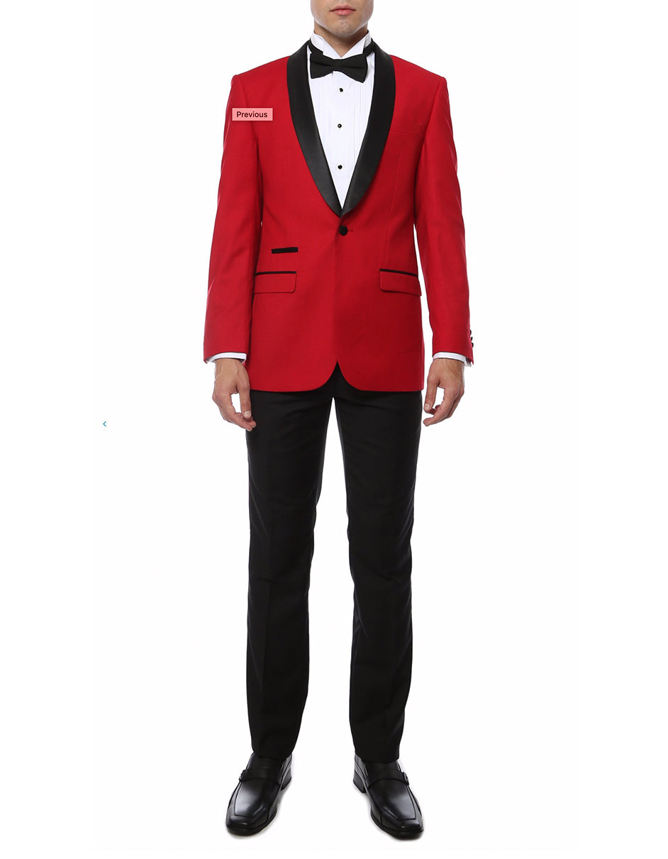 Mens Slim Fit Shawl Prom Tuxedo in Red