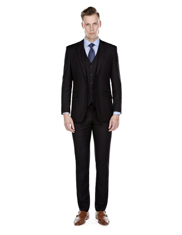 Mens Smart Slim Vested Suit Black
