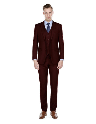 Mens Smart Slim Vested Suit Burgundy