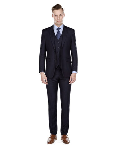 Mens Smart Slim Vested Suit Dark Navy Blue