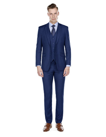 Mens Smart Slim Vested Suit Indigo Blue