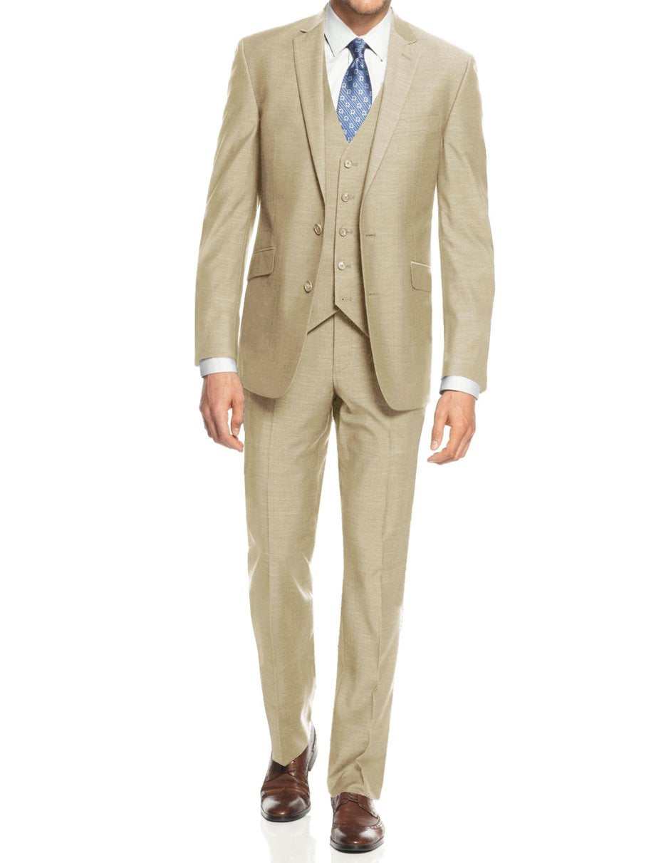 Mens Smart Slim Vested Suit Tan