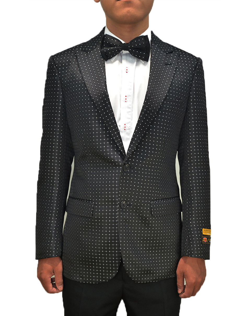 Mens Traditional Diamond Design Peak Lapel Dinner Jacket in Black